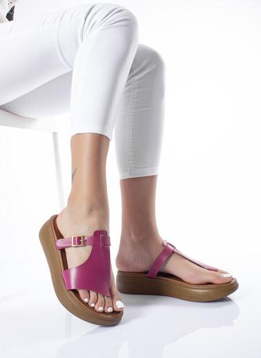 MODAGON Hakiki Deri Sandalet Terlik Fuşya